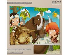 Prehistoric friends, παιδικός - βρεφικός πίνακας σε καμβά,14,90 €,http://www.stickit.gr/index.php?id_product=18992&controller=product