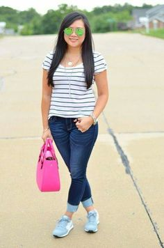 Tennis shoes white dark blue striped tee cropped jeans
