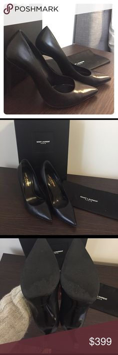 Saint Laurent classic black pumps A wardrobe staple!!! Good condition. Slight wear on the heels as pictured. They have been resoled with black rubber to look like new. Comes with original box and dust bag. 105mm heel height. Saint Laurent Shoes Heels