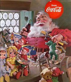 Coca-Cola Santa in workshop with his elves