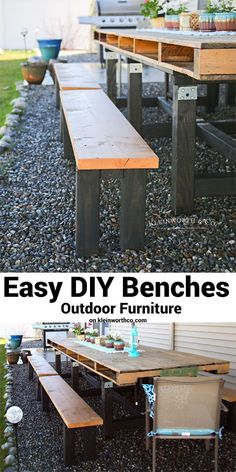 Easy DIY Benches - Outdoor Furniture are simple to make & are a great addition to your yard. Beautiful wooden garden furniture made in just 30 minutes. via @KleinworthCo