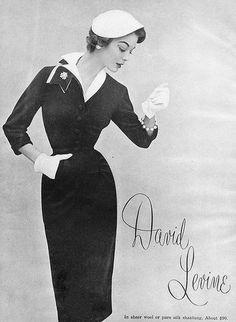 Curve hugging elegance from David Levine. #vintage #1950s #dress