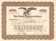 First National Bank of Carbondale stock certificate 1933 (Pennsylvania)