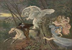 Der Erlkonig by Moritz von Schwind Music Artwork, Metal Artwork, Moritz Von Schwind, German Fairy Tales, Elf King, Johann Wolfgang Von Goethe, Baroque Art, Modern Warfare, Romanticism
