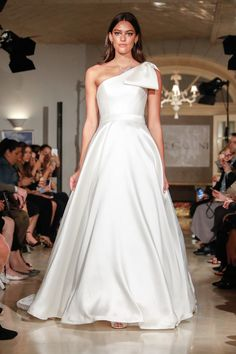 One-shoulder A-line wedding dress with bow