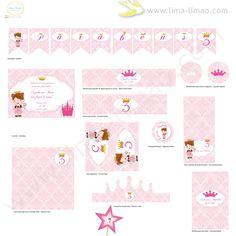 KIT festa princesa - Princess party set, via Etsy.