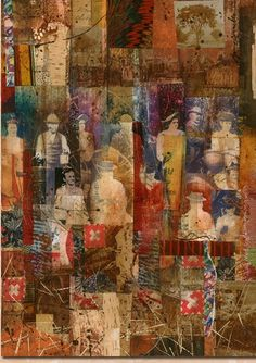Lynne Perrella my notes: print images on substrate print color from gelli etc. Collage Kunst, Collage Art, Mixed Media Artwork, Mixed Media Collage, Gelli Arts, Encaustic Art, Art Graphique, Gravure, Figure Painting