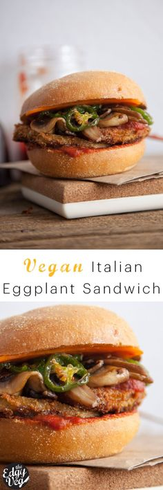 Italian Eggplant Sandwich: Vegan Italian Eggplant Sandwich: Vegan Recipe A mouth watering sandwich recipe that's a twist on the classic Italian Veal Sandwich, substituting eggplant for veal turning it into a true vegan delight that many would also say is Sandwich Vegan, Eggplant Sandwich, Vegan Burgers, Vegan Sandwiches, Sandwich Recipes, Veggie Recipes, Whole Food Recipes, Vegetarian Recipes, Cooking Recipes