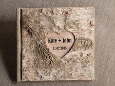Livre d'or bois, en bois, Guest Book, écorce de bouleau naturel, Country Style Engraverd noms de mariage