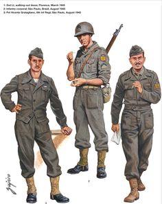 BEF (Brazilian Expeditionary Force) - 1 Sottotennte, tenuta da passeggio, Firenze 1945 - 2 Caporale di Fanteria, Sao Paulo, agosto 1945 - Soldato Vicente Gratagliano, 6th Reggimento Fanteria, Sao Paulo, agosto 1945.