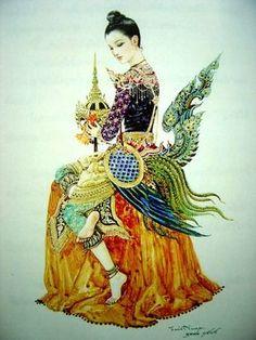 Nang Kinaree ; Traditional Thai Art.