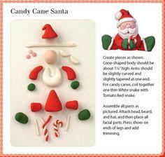 Fondant or Fimo clay Candy Cane Santa Crea Fimo, Fimo Clay, Polymer Clay Projects, Polymer Clay Creations, Christmas Baking, Christmas Crafts, Father Christmas, Jumping Clay, Polymer Clay Christmas