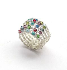 Crochet Wire Ring Sterling Silver Wire Colorful Swarovski Crystals by Sigalsart On Etsy, via Flickr