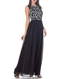 JS Collections Illusion Shoulder Floral Beaded Chiffon Gown