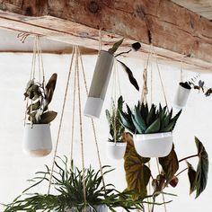 Trouva: Madam Stoltz Matte Grey And White Porcelain Hanging Pot. Click through to shop.