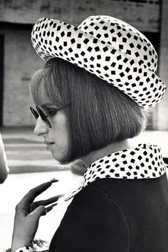 Barbra Streisand's Many Hats: A Tribute to Her Most Show-Stopping Costumes Photos Barbara Streisand, 24 Avril, Ella Enchanted, Hello Gorgeous, Beautiful, Black And White Design, Female Singers, Celebs, Celebrities