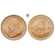 South Africa, Republic, 1/10 Krugerrand seit 1980, 3.11 g fine, unc: Republic since 1961. 1/10 Krugerrand 3.11 g fine, seit 1980.… #coins