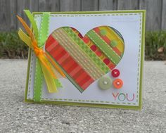 This is made with ribbon scraps! card, ribbon scrap