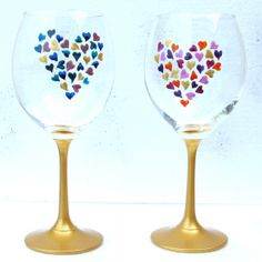 valentine painted wine glasses