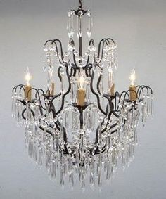 Ophelia & Co. Karp 5 - Light Candle Style Empire Chandelier with Wrought Iron Accents Crystal Chandelier Lighting, Empire Chandelier, Metal Chandelier, Hallway Chandelier, Country Chandelier, Gallery Lighting, Lighting Ideas, Compact Fluorescent Bulbs, Wrought Iron Chandeliers