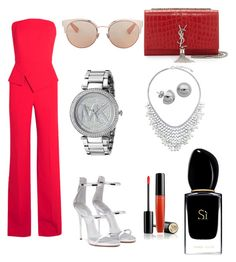 Lady red by a-quiroz-aqp on Polyvore featuring polyvore fashion style Roland Mouret Giuseppe Zanotti Yves Saint Laurent Michael Kors BERRICLE Lord & Taylor Christian Dior Lancôme Giorgio Armani clothing