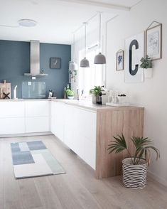 kitchen-cuisine-blanc-bleu-bois-hotte-intox-tapis-plante-suspension-beton-credence-verre-cadre - The world's most private search engine Kitchen Interior, New Kitchen, Kitchen Decor, Kitchen Ideas, Kitchen Colors, Kitchen Inspiration, Gray And White Kitchen, Kitchen Grey, Kitchen Wood