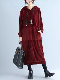 Casual Women Pure Color Velvet Long Sleeve Hooded Sweatshirt Dresses