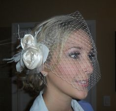 Claire II -  vintage style hair fascinator and French birdcage veil, wedding hair accessory, bridal hair accessory, bridal hairpiece