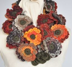 Floral Fall - Contrast - Red-Brown-Orange-  Crochet Multicolor Flowers Wreath Scarf