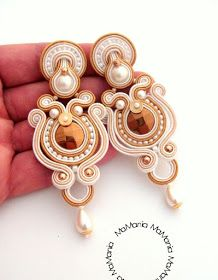 "Soutache earrings ""Gold Happiness"" by MaMania I Love Jewelry, Statement Jewelry, Boho Jewelry, Soutache Necklace, Beaded Earrings, Shibori, Handmade Necklaces, Handmade Jewelry, Soutache Tutorial"