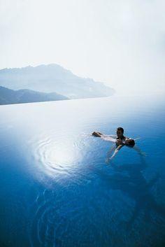 Infinity pool at the magical island of Santorini