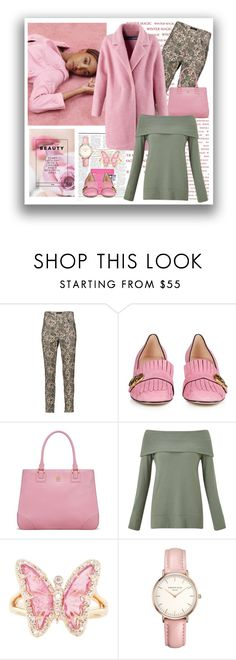 """Pink Coat"" by terry-tlc ❤ liked on Polyvore featuring Isabel Marant, Gucci, Tory Burch, Dunn, Miss Selfridge, Luna Skye and Topshop"