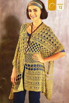 Crochet yellow tunic ♥LCT-MRS♥ with diagram.  --- CARAMELO ARDIENTE es... LA PRINCESA DEL CROCHET: poncho calado Would make a good curtain