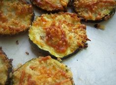 Zucchini or Squash Parmesan Crisps..2 medium zucchini or squash, 1/4 C panko bread crumbs, 1/4 C shredded parmesan cheese, 1 Tbsp olive oil, 1/4 tsp salt,  fresh cracked black pepper to taste. Bake at 400 for 22-27 minutes....These sound delicious!!