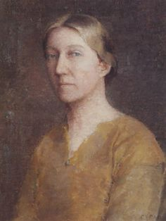 """""""American Gothic,"""" (Portrait of the Artist's Wife), Emil Carlsen, oil on canvasboard, 19 x 14.8"""", private collection."""