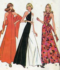 Gorgeous Evening Palazzo Jumpsuit Dress Pattern Criss Cross Halter Neck Bodice, Includes Evening Stole McCalls 3419 Vintage Sewing Pattern UNCUT American Hustle Era-Authentic vintage sewing patterns: This is a fabulous original dress making pat Vintage Sewing Patterns, Clothing Patterns, Dress Patterns, Vogue Patterns, Mccalls Patterns, Vintage Outfits, Vintage Party Dresses, 70s Fashion, Fashion History