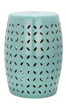 Safavieh Lattice Petal Robin S Egg Blue Ceramic Patio Stool At The Home Depot Mobile
