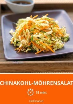 Chinakohl-Möhrensalat Chinese cabbage and carrot salad - smarter - calories: 148 kcal - time: 15 min Healthy Recipes For Diabetics, Healthy Gluten Free Recipes, Healthy Meals For Two, Healthy Salad Recipes, Vegetarian Recipes, Easy Meals, Biscuits Végétaliens, How To Cook Cauliflower, Chinese Cabbage