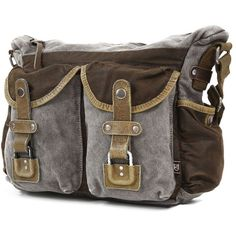 The Same Direction Two-Tone Leather Messenger Bag ($119) ❤ liked on Polyvore featuring bags, messenger bags, grey, leather messenger bag, genuine leather messenger bag, gray messenger bag and grey messenger bag