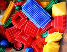 Bristle Blocks.  One of the toys from my childhood that my son plays with today.  We used ours to make Barbie furniture.