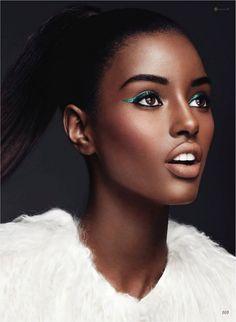 Senait shows off the cat eye trend in turquoise/teal liner for Flare, September 2011 #beauty #eyes #eyeliner #makeup