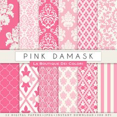 Cute pink damask digital paper. Pink digital paper pack of pink damask backgrounds patterns for commercial use clipart  Ideal for party