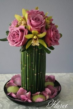 Noveau Contemporary Floral Arrangement of Pink Roses and Green Lillies!! Absolutely Gorgeous!!