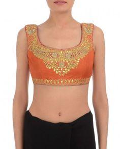 Flame Orange Blouse with Gota Patti