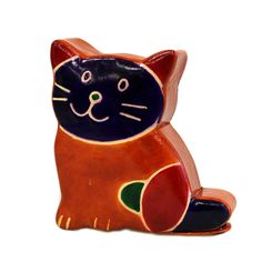Cat moneybox by Giftz Galore Ltd Cat moneybox in recycled leather 11cm high x 10cm wide x 3cm deep