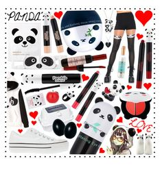 """""""Panda Love!"""" by beanpod ❤ liked on Polyvore featuring Converse, Leg Avenue, TONYMOLY, Innisfree, Aaron Basha, Forever 21, Bling Jewelry, Nach and Jools by Jenny Brown"""