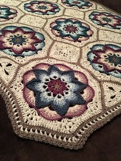 Crochet Iphone Ravelry: Project Gallery for Lotus Moon Tiles pattern by Polly Plum - Motif Mandala Crochet, Crochet Quilt, Granny Square Crochet Pattern, Afghan Crochet Patterns, Crochet Squares, Crochet Afghans, Crochet Blankets, Crochet Bedspread, Crochet Baby