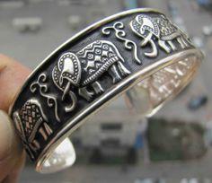 Cute Tibet Silver Elephant Blessing RARE Unisex Cuff Adjustable Bangle Bracelet   eBay