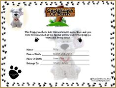 Dog birth certificate template puppy birth certificates cjs top printable puppy birth certificate tattoos in lists yadclub Images