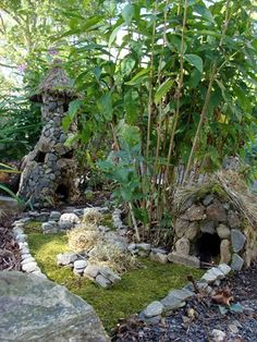 fairy village  - could glue pebbles to mini birdhouses